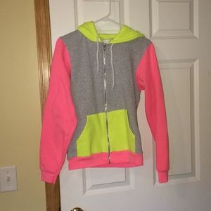 Neon pink and yellow hoodie!